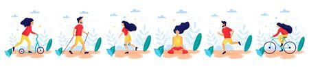 Healthy lifestyle. Different physical activities: kick scooter, nordic walking, meditating, roller skating, cyckling, running. Flat vector illustration. Illusztráció