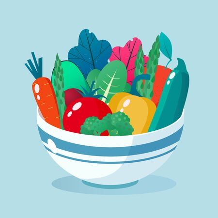 Bowl full of vegetables vector illustration. Healthy lifestyle concept. Healthy eating.
