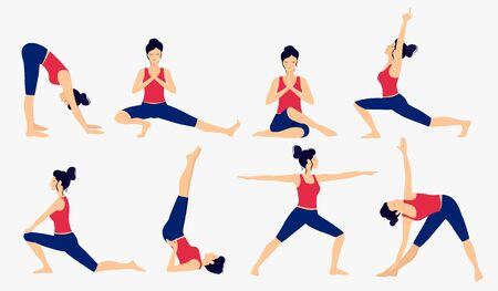 Various yoga poses set. Female yoga vector illustration. Healthy lifestyle.
