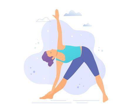 Yoga girl in a park vector illustration.