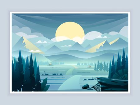 Vector landscape with mountains, sunset and fir-trees.