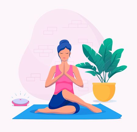 Woman doing yoga at home vector illustration. Healthy lifestyle. Çizim