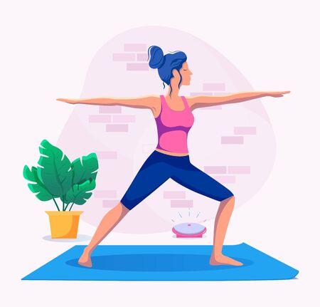 Woman doing yoga at home vector illustration. Healthy lifestyle. Ilustração