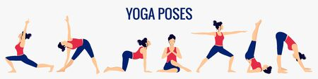 Various yoga poses set. Female yoga vector illustration. Healthy lifestyle.