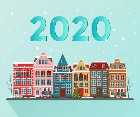 Vector illustration of european winter christmas town. Flat design Ilustração