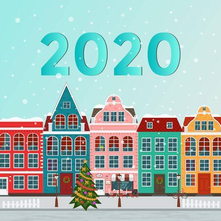 Vector illustration of european winter christmas town. Flat design Иллюстрация
