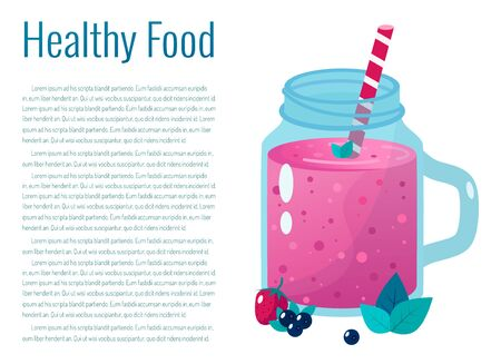 Cartoon smoothies.Berry smoothie. Organic fruit shake smoothie.  Ilustração