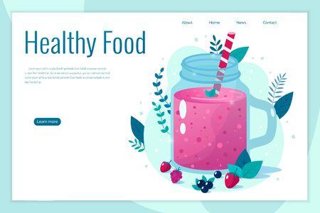 Cartoon smoothies.Berry smoothie. Organic fruit shake smoothie. Healthy eating concept.  Ilustração