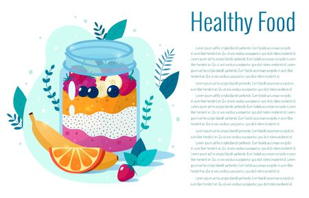 Chia seed mango strawberry pudding vector illustration. Healthy eating.