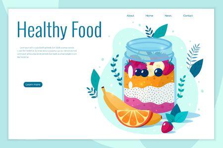Chia seed mango strawberry pudding vector illustration. Healthy food concept. Ilustração