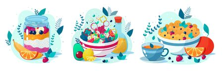 Set of four beatiful healthy food vector illustrations: vegetable salad, chia seed pudding, oatmeal with cup of tea. Healthy eating