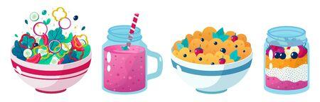 Set of four beatiful healthy food vector illustrations: vegetable salad, oatmeal with cup of tea. Healthy eating Ilustração