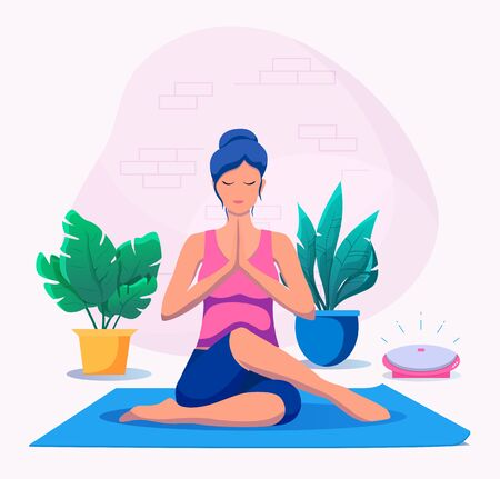 Woman doing yoga at home vector illustration. Healthy lifestyle. Vettoriali