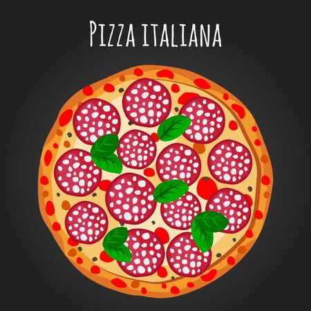 Pepperoni pizza vector flat illustration.