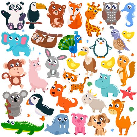 Big set of cute cartoon animals. Vector illustration. Vector Illustratie
