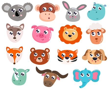 Grand ensemble d'animaux mignons de bande dessinée. Illustration vectorielle.