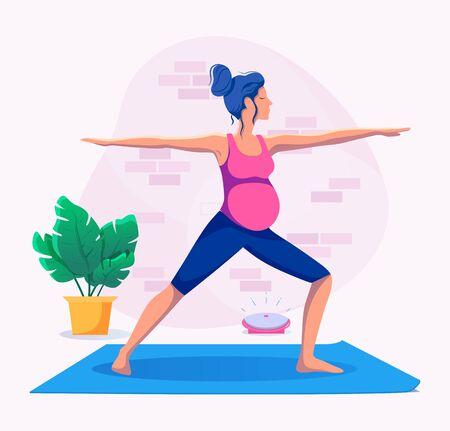 Pregnant woman practicing yoga and meditating