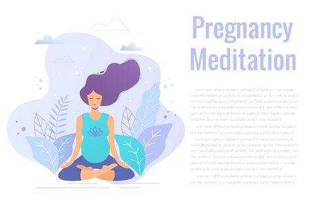 Pregnant woman practicing yoga and meditation vector illustration