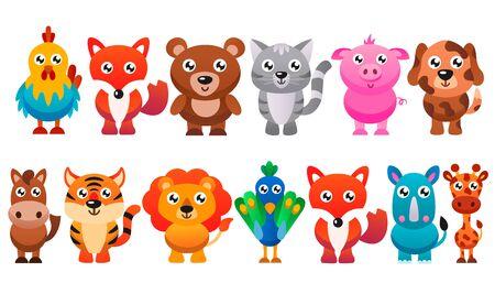 Collection of cute cartoon animals. Vector flat illustration.