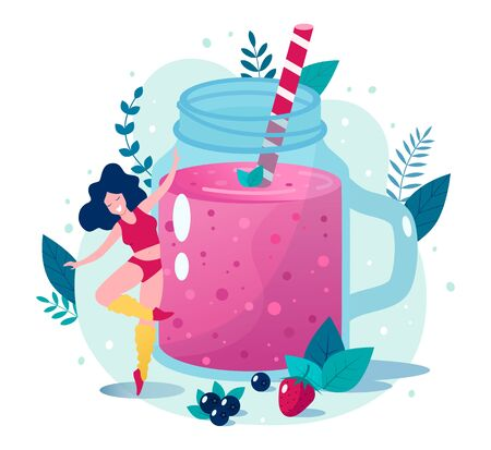 Concept of healthy lifestyle vector illustration. Berry smoothie vector illustration. Happy slim woman dancing near berry smoothie