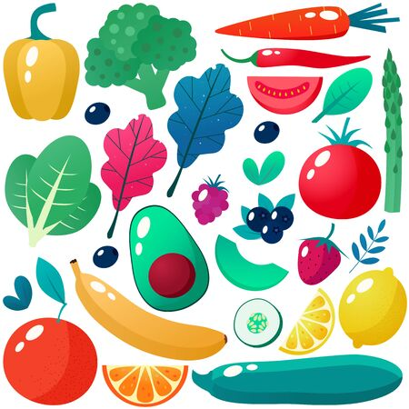 Collection of vegetables. Vector illustration. Stock Illustratie