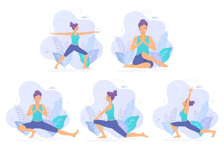 Collection of yoga vector illustrations. Yoga girl in a park vector illustration. Healthy lifestyle. Stock Illustratie