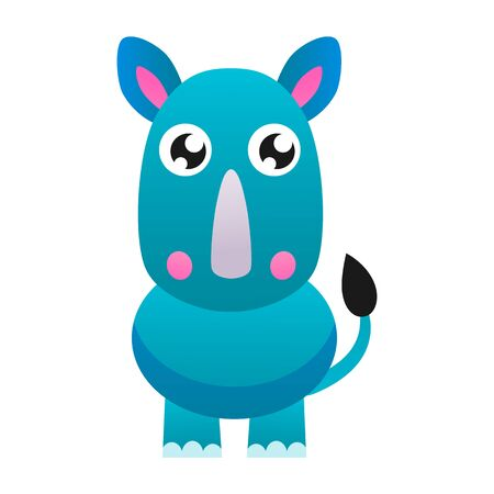 Cute rhinoceros vector flat  illustration.