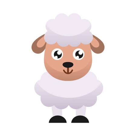 Cute little sheep. Flat design.