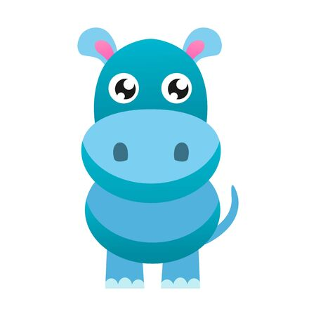Cute cartoon hippo vector flat illustration.