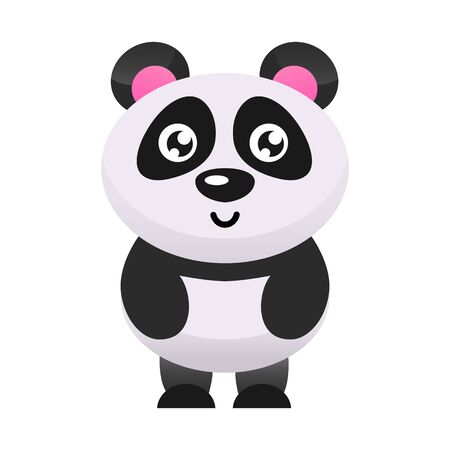 Cute panda bear vector illustration. Flat design.