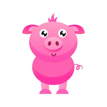 Cute pig vector illustration. Flat design.
