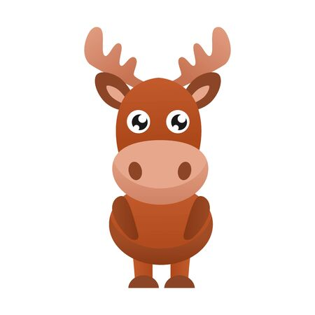 Cute elk vector illustration.  Flat design. Stock Illustratie