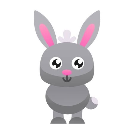 Cute little rabbit vector illustration. Flat design. Stock Illustratie