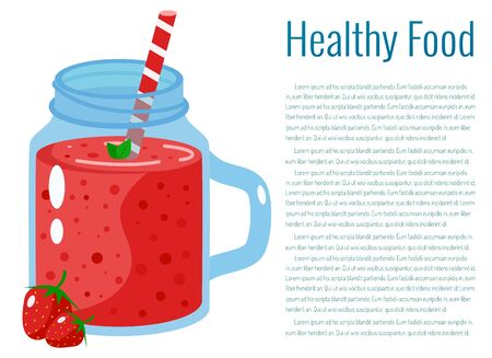 Strawberry smoothie vector illustration.