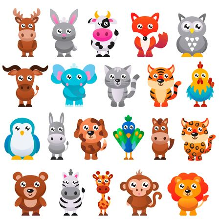 Cute cartoon animals set. Vector illustration.