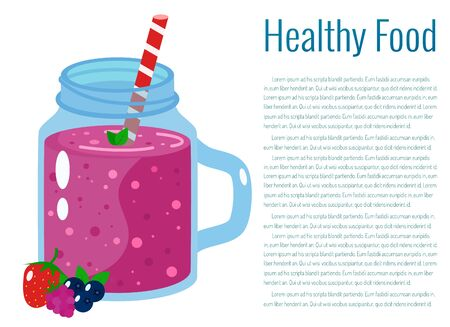 Berry smoothie vector illustration.