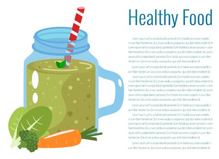 Green smoothie vector illustration. Healthy eating.