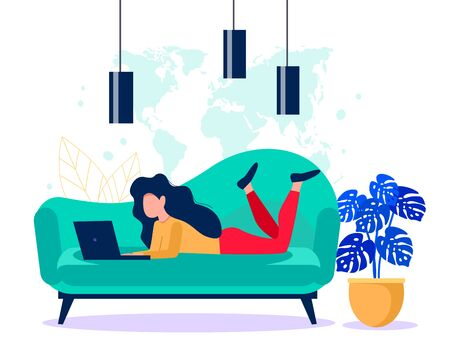Girl with a laptop laying on the coach. Freelance concept. Online work vector illustration.