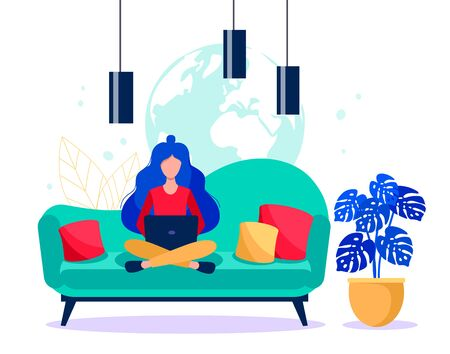 Girl with a laptop sitting on the coach. Freelance concept. Online work vector illustration.