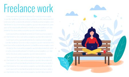 Freelance, online work, work from home, online education, freedom in work concept vector illustration in flat style. Woman sitting on the bech with laptop.