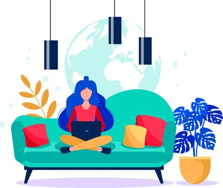 Girl with a laptop sitting on the coach. Freelance concept. Online work vector flat illustration.