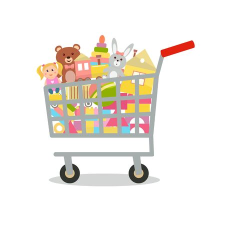 Shopping cart with toys Vector illustration.