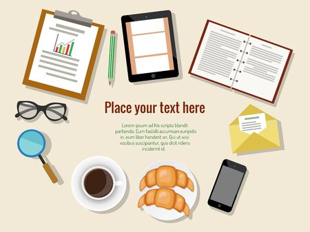 Concept of business meeting coffee break with digital tablet, smartphone, papers and various office objects. Vector illustration.