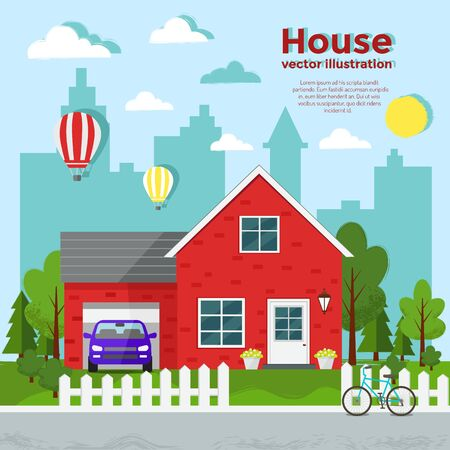 Red house vector flat illustration Stock Illustratie