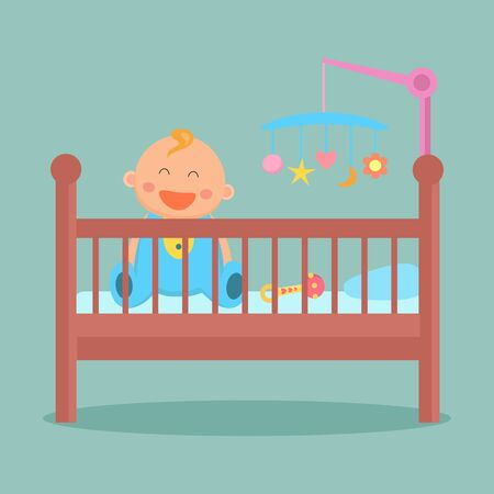 Happy sitting baby is in the crib. Flat design.