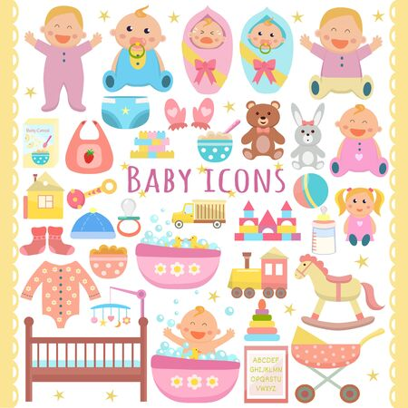 Baby vector flat icons set.