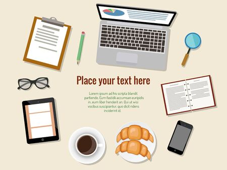 Concept of business meeting coffee break with digital tablet, smart phone, laptop, papers and various office objects. Vector illustration. Stock Illustratie