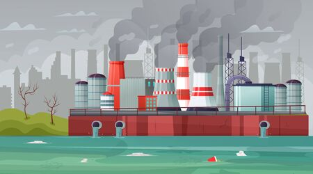 Environmental pollution vector illustration. Air pollution, pollutant fog gas and industrial smog. Stock Illustratie