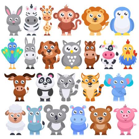 Collection of cute cartoon animals. Vector illustration.