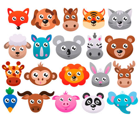 Big set of cute cartoon animals. Vector flat illustration.